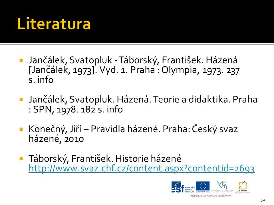 Literatura Jančálek, Svatopluk - Táborský, František. Házená [Jančálek, 1973]. Vyd. 1. Praha : Olympia, 1973. 237 s. info.